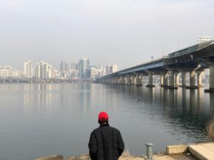 My tour guide took me to his favorite spot in Seoul, this part of the river bank of the Han River, overlooking the city of Seoul.