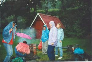During my second visit to Sweden, with my university at the time (you can see me trying to get the BBQ to light), this was not uncommon. Rain and cool temperatures forcing us to wear sweaters and jackets even in July.