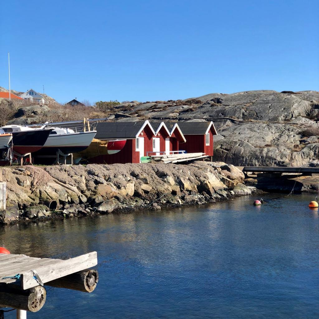 Traditional boathouses on the island of Brännö.